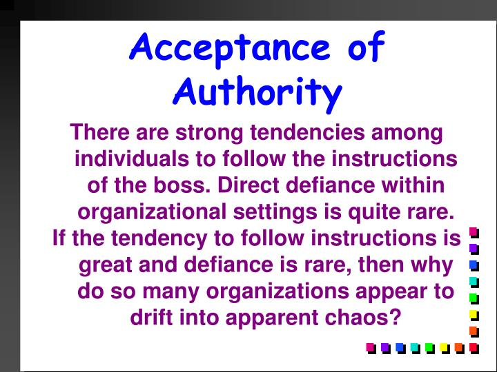 Acceptance of Authority