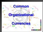 common organizational currencies