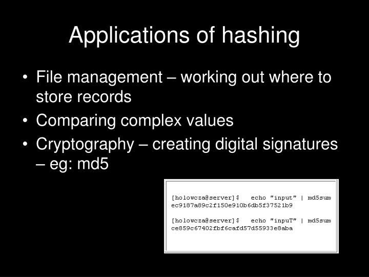 Applications of hashing