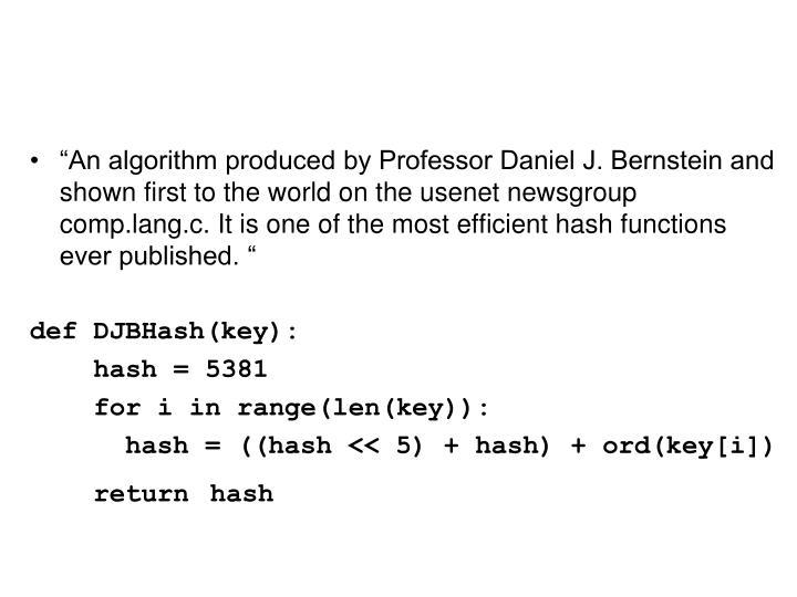 DJB Hash function