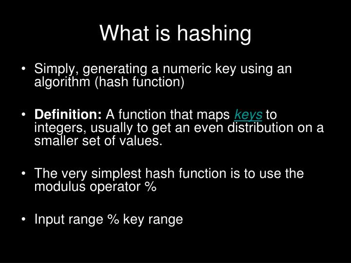 What is hashing