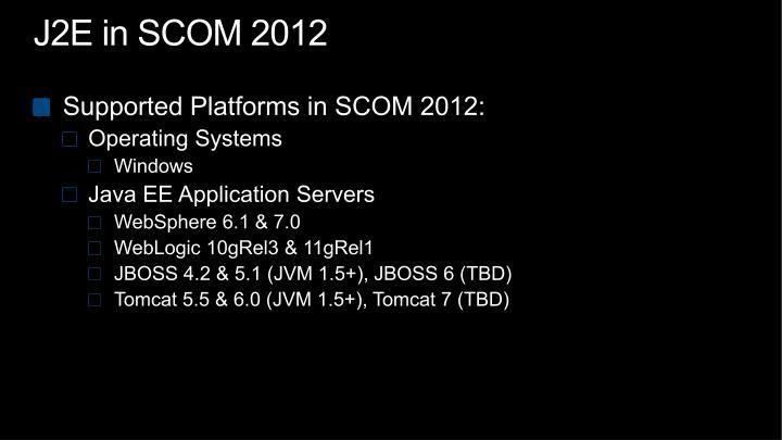 J2E in SCOM 2012