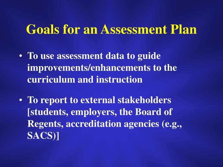 Goals for an Assessment Plan
