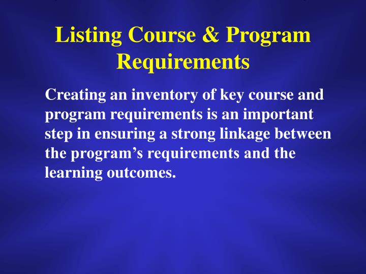 Listing Course & Program Requirements