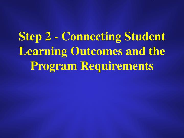 Step 2 - Connecting Student Learning Outcomes and the Program Requirements
