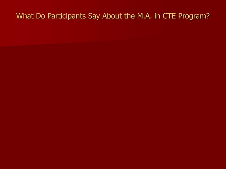 What Do Participants Say About the M.A. in CTE Program?