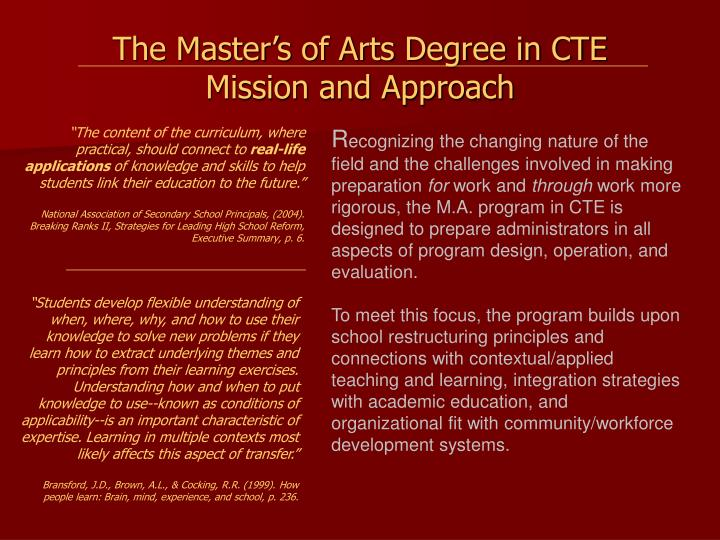 The master s of arts degree in cte mission and approach
