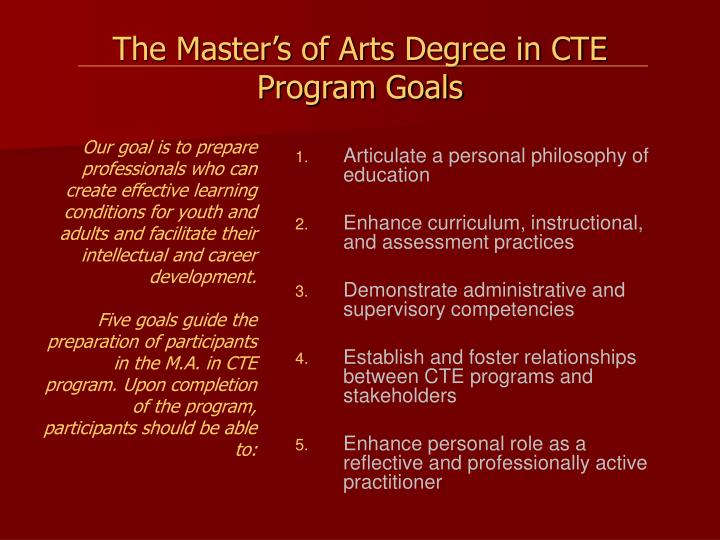 The Master's of Arts Degree in CTE