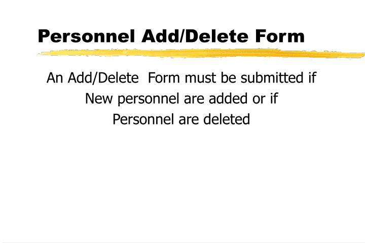 Personnel Add/Delete Form