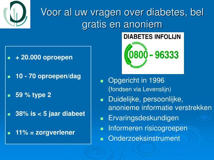 Voor al uw vragen over diabetes, bel gratis en anoniem