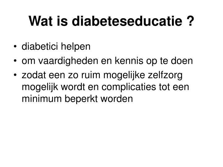 Wat is diabeteseducatie ?