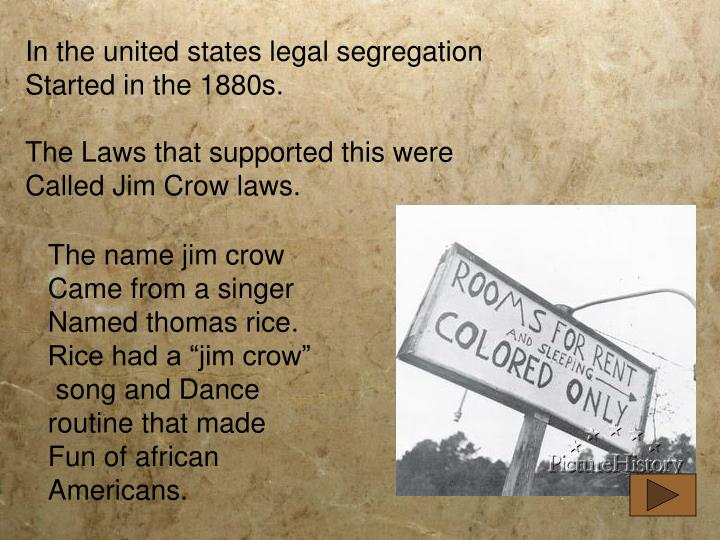 In the united states legal segregation