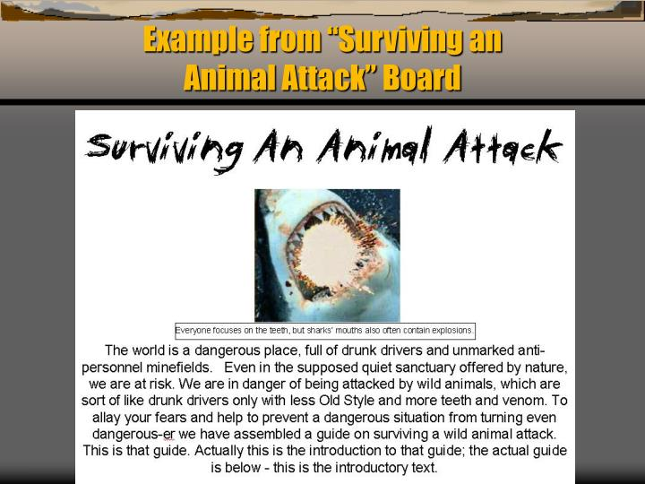 "Example from ""Surviving an                                Animal Attack"" Board"