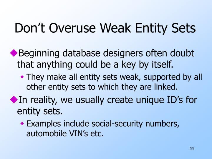 Don't Overuse Weak Entity Sets