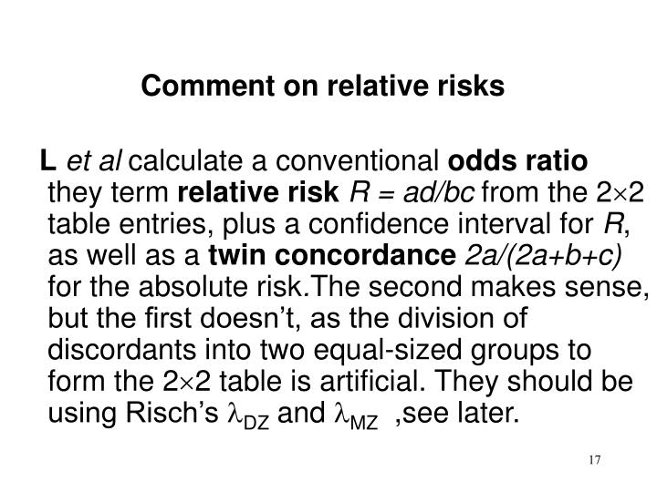 Comment on relative risks