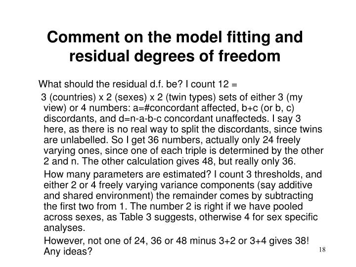Comment on the model fitting and residual degrees of freedom
