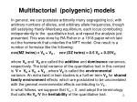 multifactorial polygenic models