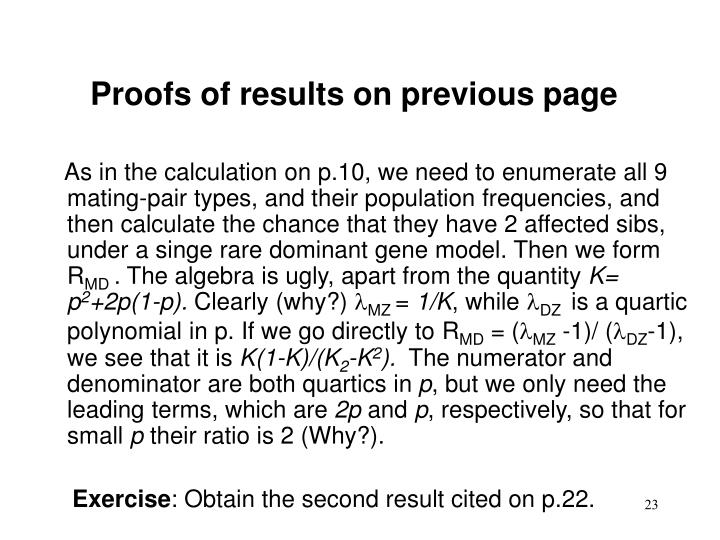Proofs of results on previous page