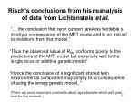 risch s conclusions from his reanalysis of data from lichtenstein et al