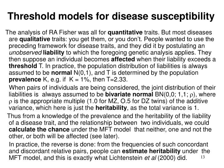 Threshold models for disease susceptibility