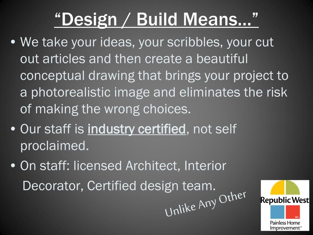 """Design / Build Means…"""