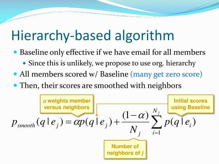 Hierarchy-based algorithm