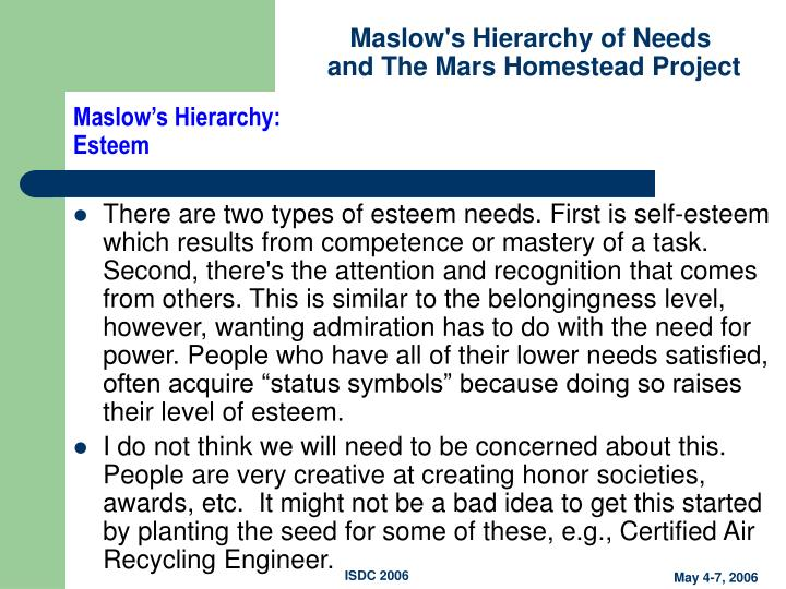 Maslow's Hierarchy:
