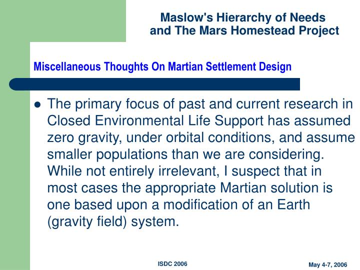 Miscellaneous Thoughts On Martian Settlement Design