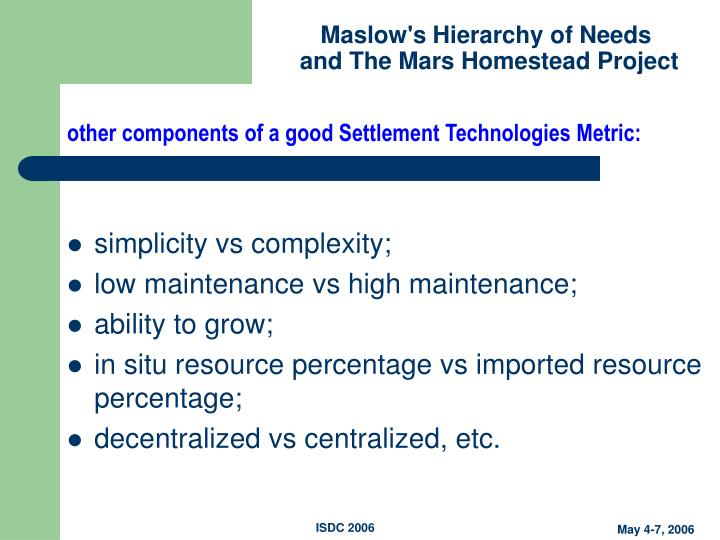 other components of a good Settlement Technologies Metric: