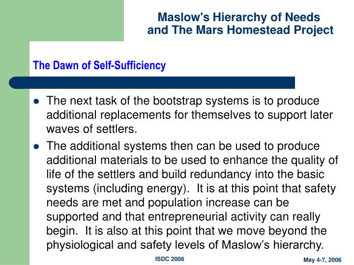 The Dawn of Self-Sufficiency