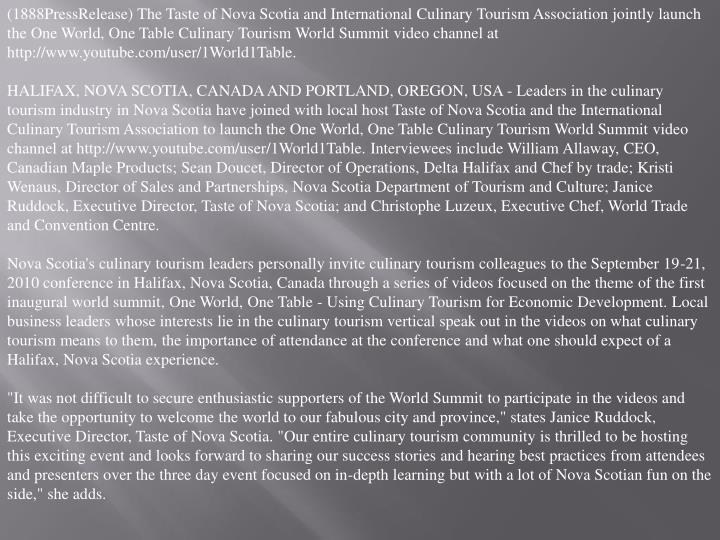 (1888PressRelease) The Taste of Nova Scotia and International Culinary Tourism Association jointly l...