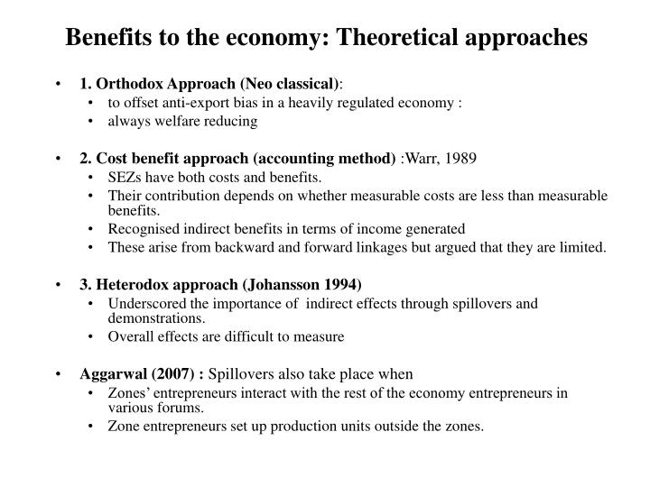Benefits to the economy: Theoretical approaches