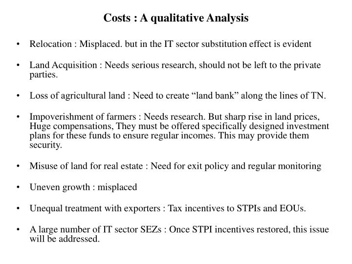 Costs : A qualitative Analysis