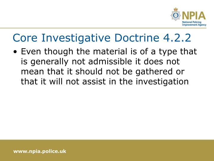 Core Investigative Doctrine 4.2.2