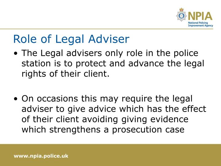 Role of Legal Adviser