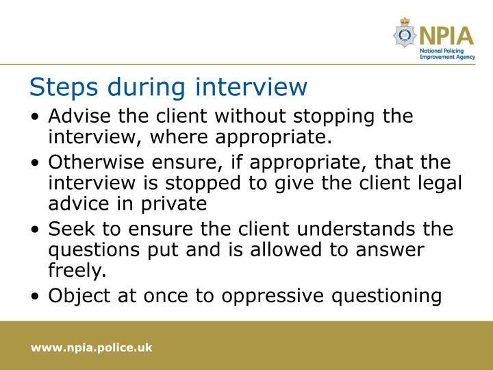 Steps during interview