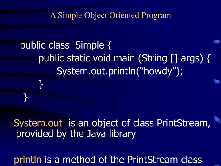 A simple object oriented program