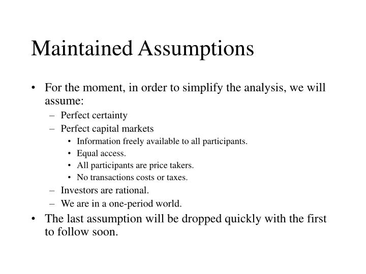 Maintained Assumptions