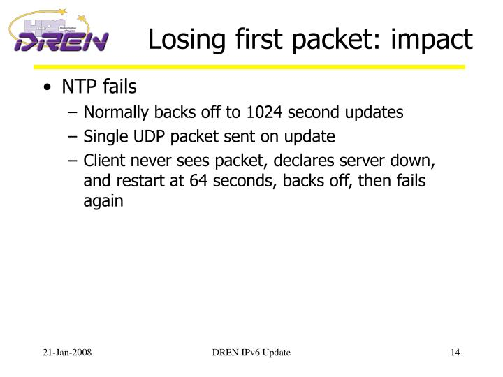 Losing first packet: impact