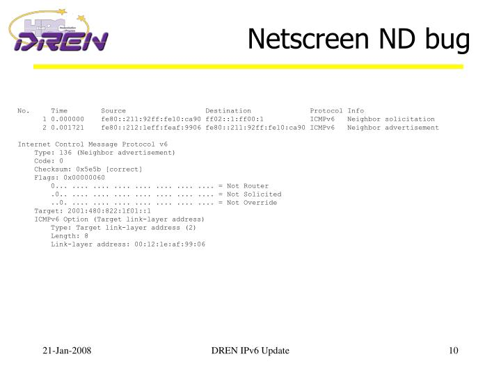 Netscreen ND bug