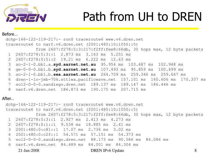 Path from UH to DREN