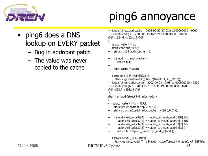 ping6 does a DNS lookup on EVERY packet