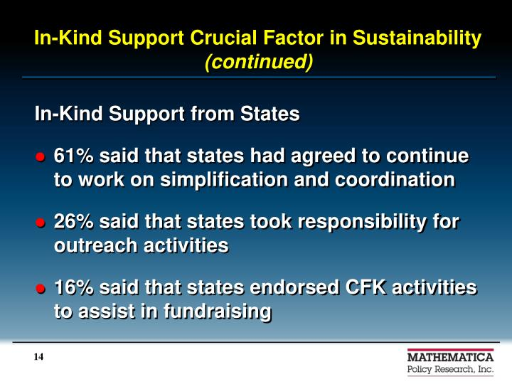 In-Kind Support Crucial Factor in Sustainability