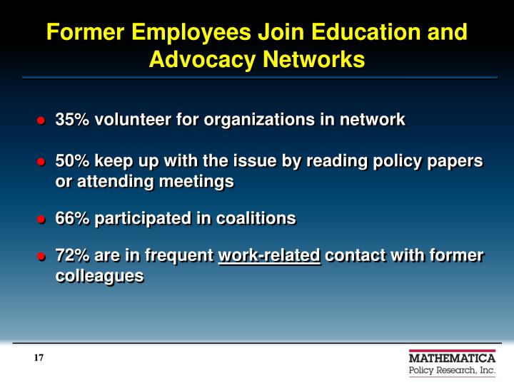 Former Employees Join Education and Advocacy Networks