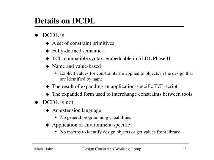 Details on DCDL