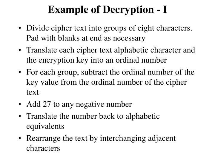 Example of Decryption - I