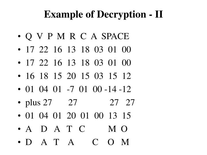 Example of Decryption - II