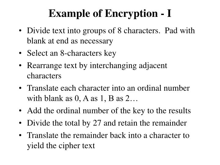 Example of Encryption - I