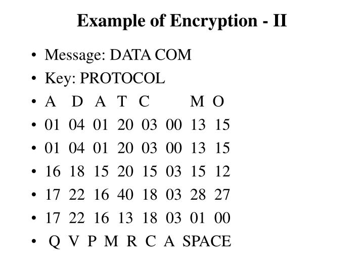 Example of Encryption - II