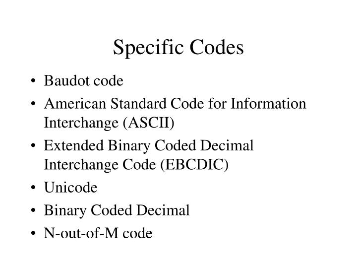 Specific Codes